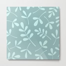 Assorted Leaf Silhouettes Teals Metal Print