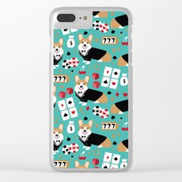 Corgi blackjack poker night dog breed pet art tuxedo red welsh corgi Clear iPhone Case