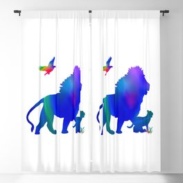 Lion and baby lion taking a stroll Blackout Curtain