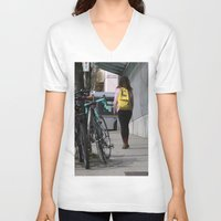 backpack V-neck T-shirts featuring Bikes and backpack by RMK Creative