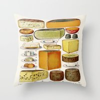 cheese Throw Pillows featuring CHEESE by Kathead Tarot/David Rivera