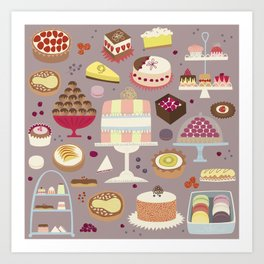 Patisserie Cakes and Good Things Art Print