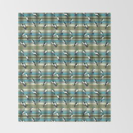 Kereru on green and turquoise plaid Throw Blanket