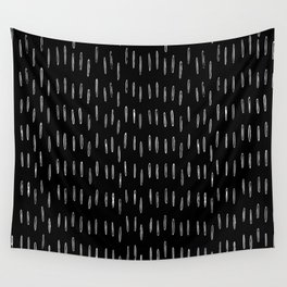 Raindrop, Boho Pattern, Black and White Wall Tapestry