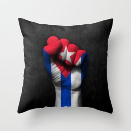 Cuban Flag on a Raised Clenched Fist Throw Pillow