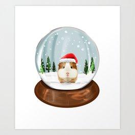Guinea Pigs Snow Globe Kawaii Christmas Gift Idea Art Print