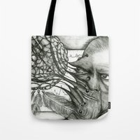 freud Tote Bags featuring Freud by CasiRodriguez