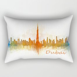 Dubai, emirates, City Cityscape Skyline watercolor art v3 Rectangular Pillow