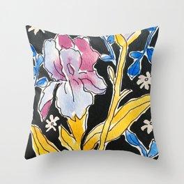 Iris Floral Throw Pillow