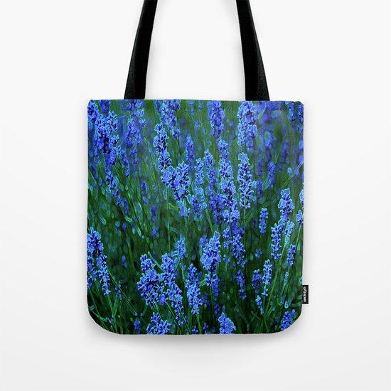 Glowing Blue Floral Tote Bag