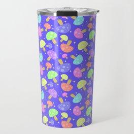 Pastel Rainbow Kawaii Mushroom Pattern Travel Mug