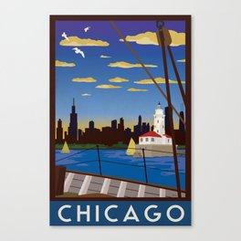 Chicago Art Deco Sail Travel Poster Canvas Print