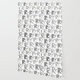 Watercolor R's - Grey Gray Wallpaper