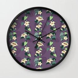 Moonflower vine pattern in dusky purple Wall Clock