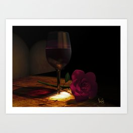 Rose and Wine Art Print