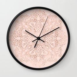 Mandala Rose Gold Pink Shimmer on Blush Pink Wall Clock