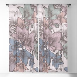 Beautiful pattern design with flowers in vintage style Sheer Curtain