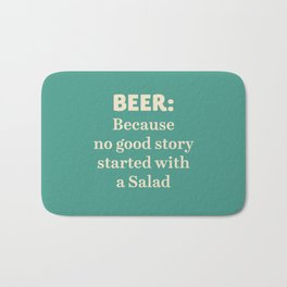 Beer illustration quote, vintage Pub sign, Restaurant, fine art, mancave, food, drink, private club Bath Mat