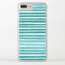 Teal Foil Stripes Clear iPhone Case
