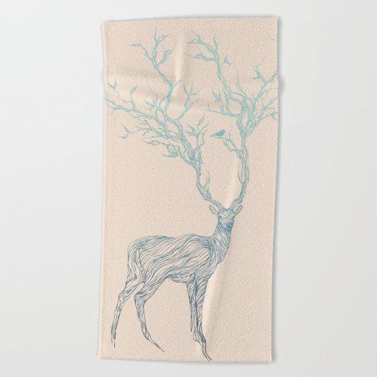 Blue Deer Beach Towel