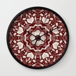 Red Floral Batik Wall Clock