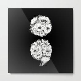 floral semicolon monochrome Metal Print