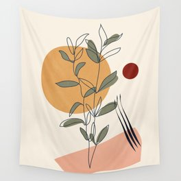 Minimal Line Young Leaves Wall Tapestry