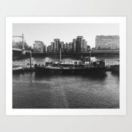 Black and White Barge Battersea London Art Print