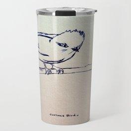 Curious Bird Ink Drawing Travel Mug