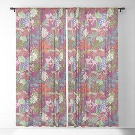 WINTER GARDEN - BURGUNDY  Sheer Curtain