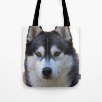 husky Tote Bags featuring Husky by Doug McRae