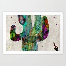 Rainbow Cactus Saguaro Poster print watercolor by Robert Erod Art Print