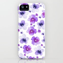 Modern purple lavender watercolor floral pattern iPhone Case