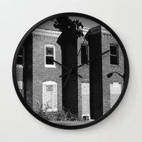 baltimore Wall Clocks featuring West Baltimore by Andrew Mangum