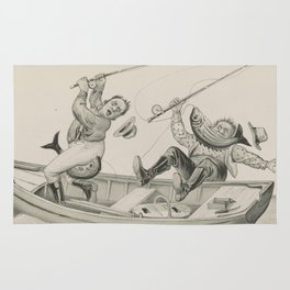 Vintage Funny Fishing Trip Illustration (1882) Rug