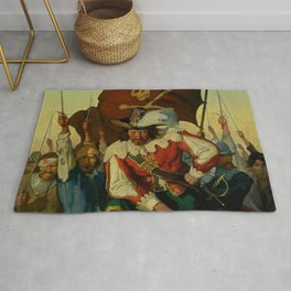 """""""Stand and Deliver"""" Pirate Art by NC Wyeth Rug"""