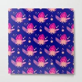 Modern navy blue pink abstract monster leaves illustration Metal Print