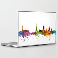 sweden Laptop & iPad Skins featuring Stockholm Sweden Skyline by artPause