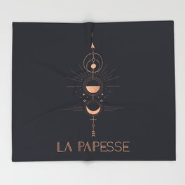 La Papesse or The High Priestess Tarot Throw Blanket