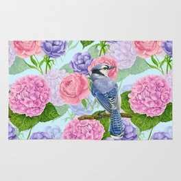 Blue jay and flowers watercolor pattern Rug