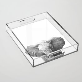 Black and White Baby Elephant Acrylic Tray