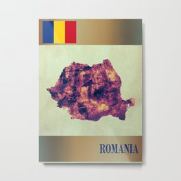 Romania Map with Flag Metal Print