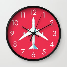 747-8 Jumbo Jet Airliner Aircraft - Crimson Wall Clock