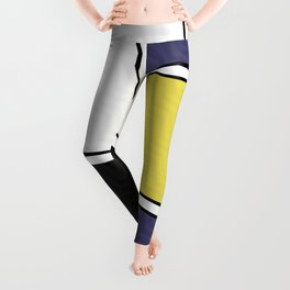 Abstract Geometric Waves Pattern Leggings
