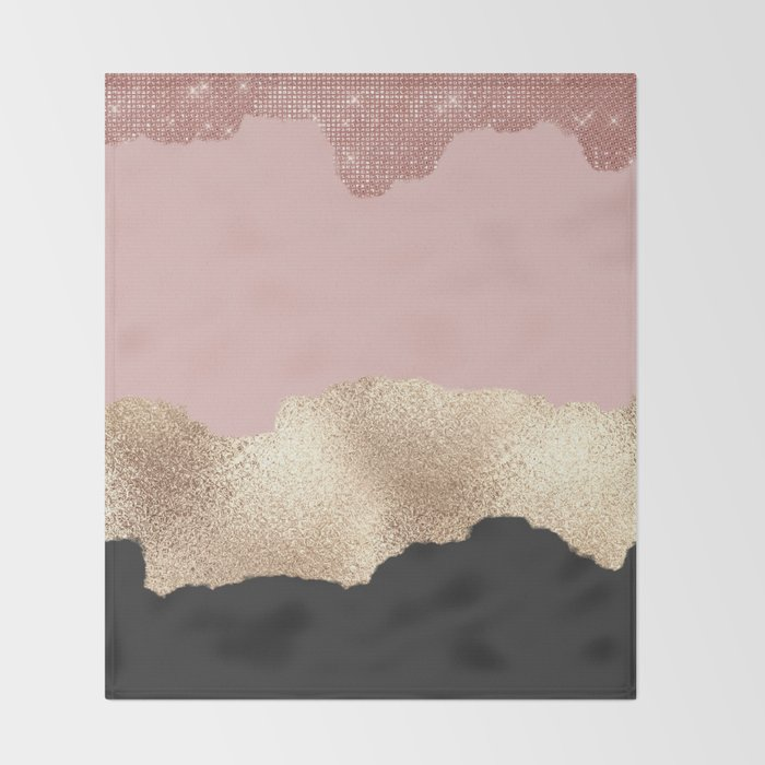 Rose Gold Glitter Black Pink Abstract Girly Art Throw Blanket
