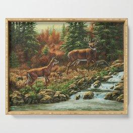 Whitetil Deer Doe & Buck by Waterfall Serving Tray