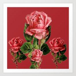 ROSE MADDER ANTIQUE VINTAGE ART PINK ROSES Art Print
