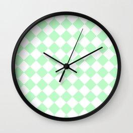 Diamonds - White and Light Green Wall Clock