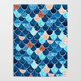 REALLY MERMAID BLUE & GOLD Poster