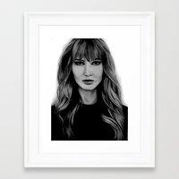 jennifer lawrence Framed Art Prints featuring Jennifer Lawrence by Lydia Dick